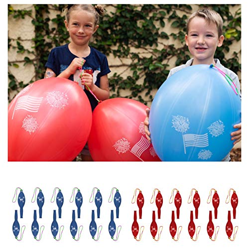 John & Judy 24 Patriotic Punch Balloons for Kids | Best for Memorial Day Party Supplies, Party Favors and Fourth of July Party Decorations | American Flag July 4th Punch Balls for Boys and Girls -