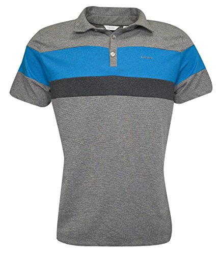 Calvin Rocks - Calvin Klein Men's Liquid Touch Tricolor Blocked Polo Medium Grey Heather Combo XX-Large
