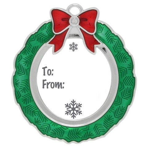 Mini Green Wreath Frame Harvey LewisTM Silver-plated Ornament - Made with 1 Swarovski® - Wreath Swarovski