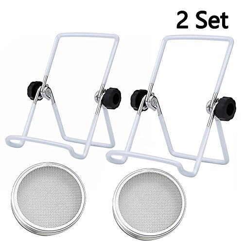 Stainless Steel Sprouting Kit for Mason, iPad & Phone. Include Sprouting Stands & Sprouting Lids, Used to make Sprouts, Broccoli, Lentil Seeds. - 2 Set -