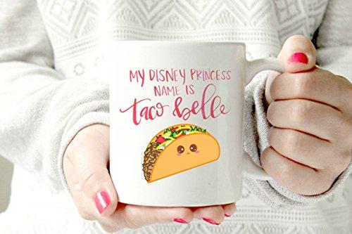 Disney princess mug mug. Taco belle.Funny mug. Humorous coffee cup.