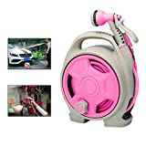 KOBWA Hose Reel,Multi-function Household Water Pipe Mobile Automatic Swivelling Hose Reel Used for Car Wash Watering Shower Pet