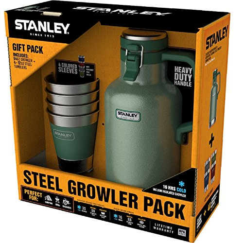 Stanley Growler Classic Vacuum Growler 64 oz and Adventure Stacking Steel Tumblers 12 oz, Hammertone Green - (4 Pack) Gift Set (Stacking Gift)