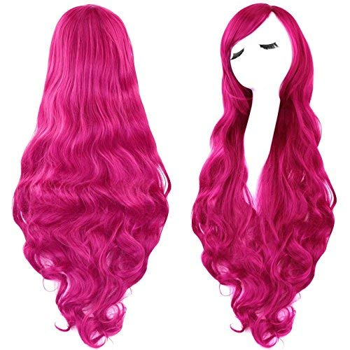 (Rbenxia Curly Cosplay Wig Long Hair Heat Resistant Spiral Costume Wigs Anime Fashion Wavy Curly Cosplay Daily Party Rose Red 32
