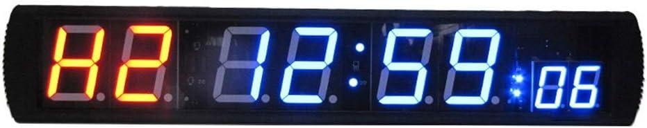 カウントダウン時計 多機能ホームジムカウントダウン時計ストップウォッチフィットネスリモートコントロール付き大型デジタル時計LEDインターバルタイマー デジタルタイマーウォールクロック (色 : ブラック, サイズ : 86X16X4CM) ブラック 86X16X4CM