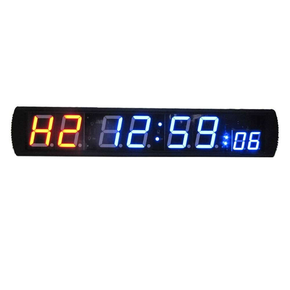 Large Digital Clock Large Digital Clock LED Interval Stopwatch with Remote Timer Count Down Up Clock for Home Gym Fitness for Office School (Color : Black, Size : 86X16X4CM) by JIANGXIUQIN-Home