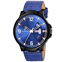 Aurex Analouge Blue Dial Day & Date Watch for Mens (AX-GR118-BLBL)