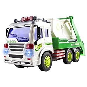 Remote Control Garbage Sanitation RC Truck 1:16 Four Channel Full Function with Lights and Music Battery Powered RC Truck Toy