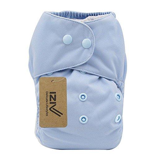 iZiv(TM) Recién Nacido Orgánico con 1 Inserte Grueso Infantil Impermeable/Ajustable/Reutilizable/Lavable Pañal de Tela de Bolsillo aptos Bebés 0-3 años(Naranja) Azul Claro