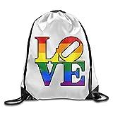 Love Rainbow Lesbian Gay Pride LGBT Drawstring Bags Hiking White Backpack Sport Bag For Men & Women School Travel Backpack For Teens College