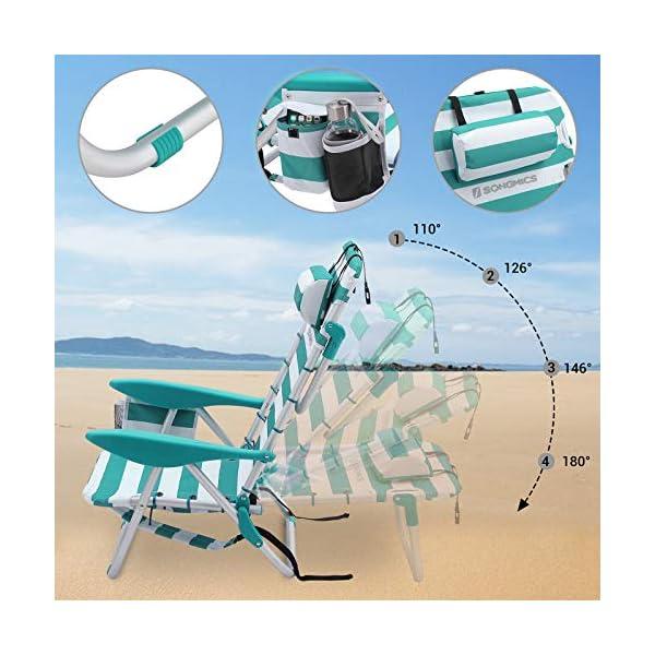 SONGMICS Sedia da Spiaggia Portatile con Poggiatesta Rimovibile, Spiaggina Pieghevole con Schienale Regolabile Fino a… 3 spesavip
