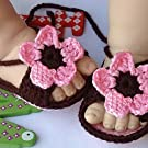Pixnor Cute Cartoon Flower Style Baby Newborn Toddler Infant Girls Hand-knitted Wool Crochet Crib Shoes Sandals