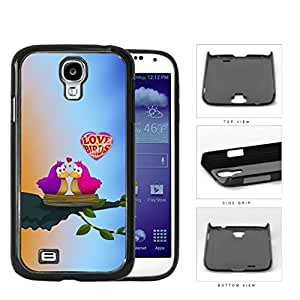 Purple/Pink Love Birds on Tree Bird Nest with Sunrise Background Samsung Galaxy S4 I9500 Hard Snap on Plastic Cell Phone Case Cover