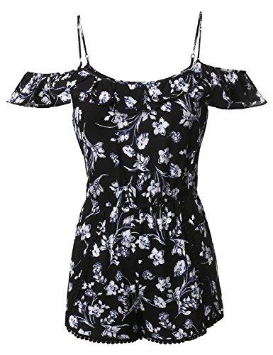 Awesome21 Summer Ruffle Off-Shoulder Strap Floral Print Romper Jumpsuit Black Size S