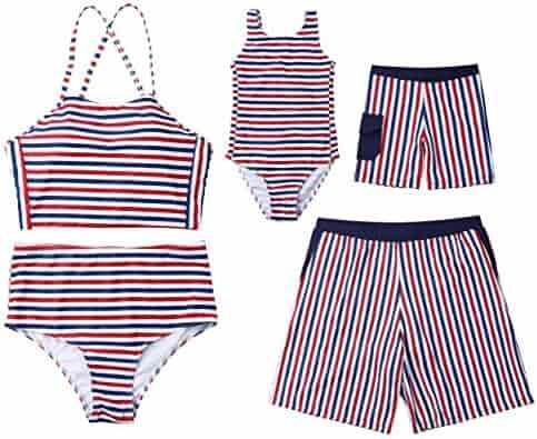 4001704540 Family Matching Striped Sleeveless Swimsuit Mommy&Me Bathing Suit Women  2Pcs Padded Bikini Sets Girl 1Pcs Monokini