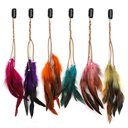 MWOOT Feder Haarspangen (6Stk), Böhmisch & Indianisch Haarclips, Frauen Feder Kopfschmuck Haarverlängerungen, Verkleidung Haarzubehör für Cosplay Halloween Thema Party Haarschmuck - Ketten Hair Clips