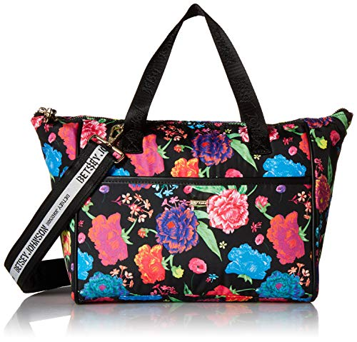 Betsey Johnson What's For Lunch Tote, Black Floral (Betsey Johnson Totes Black)