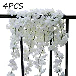 Idubai-4-Pack-Artificial-Cherry-Blossom-Flower-Vines-Hanging-Fake-Flowers-Plants-Silk-Flowers-Garland-for-Home-Hotel-Office-Wedding-Party-Garden-Craft-Art-Decor59-Feet-White