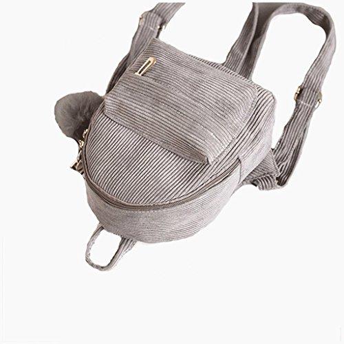 23 à dos de Gris Sacs Velours dos sac 11cm à Zipper 19 femmes zqY6AS