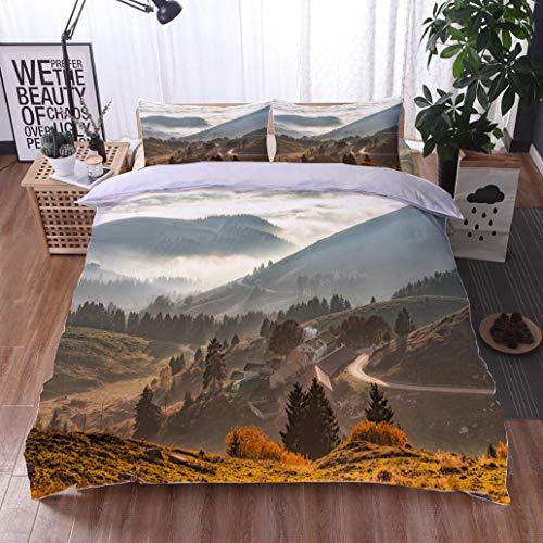 (HOOMORE Bed Comforter - 3-Piece Duvet -All Season, Monte Grappa Veneto Treviso Italy 32,HypoallergenicDuvet-MachineWashable -Twin-Full-Queen-King-Home-Hotel)