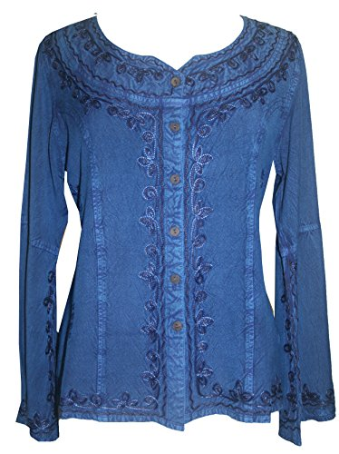 122 B Gypsy Medieval Embroidered Peasant Top Blouse (2X, Blue)
