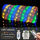 LED Fairy Rope String Lights - Liwiner 2 in 1 Battery OR USB Cable Operated 33FT 100 LED String Light with Remote Timer 8 Mode Dimmable Strip Lights for Garden Patio Party Christmas Tree Outdoor/Indoor Decoration, RG