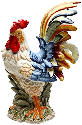 Fine Ceramic Colorful Country Rooster Figurine Multi Colors, 10 7/8