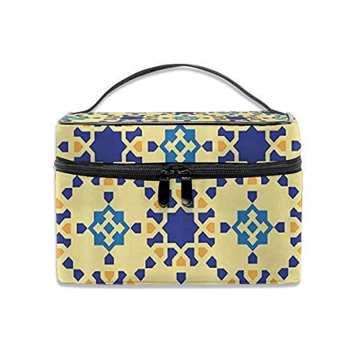 Dkhh Moroccan Ceramic Persian Folk Travel Makeup Bag Cosmetic Cases Organizer Portable Storage Bag for Cosmetics Makeup Brushes Toiletry Travel - Persian Ceramic