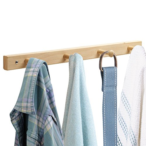 InterDesign Wall Mount Wood Storage Rack – Hanging Hooks for Jackets, Coats, Hats and Scarves - 4 Pegs, Unfinished