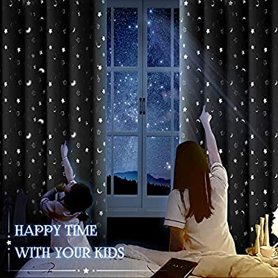 2 Panels Eyelet Thermal Insulated Silver Star Print Room Darkening Curtains for Living Room BGment Kids Blackout Curtains for Bedroom W55 X L96 Inch, Emerald