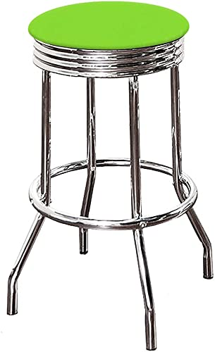 The Furniture Cove Bar Stool Chrome Metal Finish 29 Tall Swivel Seat with a Bright Green Vinyl Seat Cushion