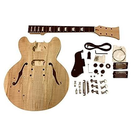para zurdos CAOBA Semi Cuerpo Hueco Guitarra Eléctrica Kit Construcción gdes22l Para Estudiante & Luthier proyectos