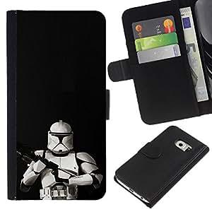 All Phone Most Case / Oferta Especial Cáscara Funda de cuero Monedero Cubierta de proteccion Caso / Wallet Case for Samsung Galaxy S6 EDGE // Storm Troop Front