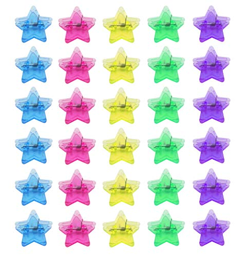 Sovenny 30 Pieces Craft Star Clip, Utility Plastic Paper Clip, Star Shape Photo Hanging Clips, Pictures Organizer Craft Clips, -