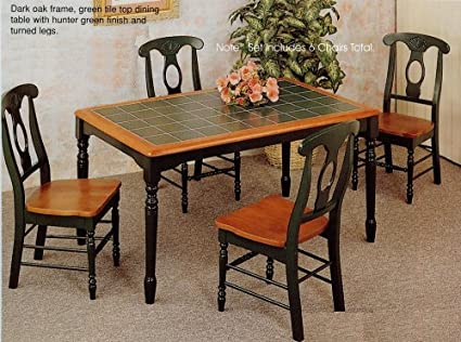 Amazon.com: 7pc Oak & Green Dining Table w/Tile Top ...