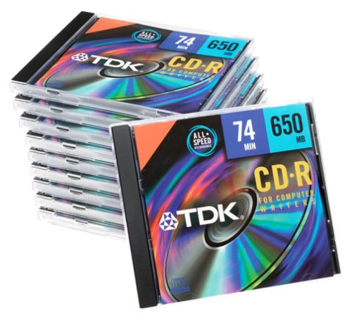 TDK CD-R74MGAXS10 CD-R, 74 Minute, 650MB, 12X (10-Pack with Jewel Cases)