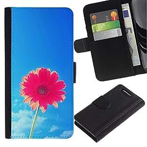 LASTONE PHONE CASE / Lujo Billetera de Cuero Caso del tirón Titular de la tarjeta Flip Carcasa Funda para Sony Xperia Z1 Compact D5503 / sun summer flower pink sky blue pretty