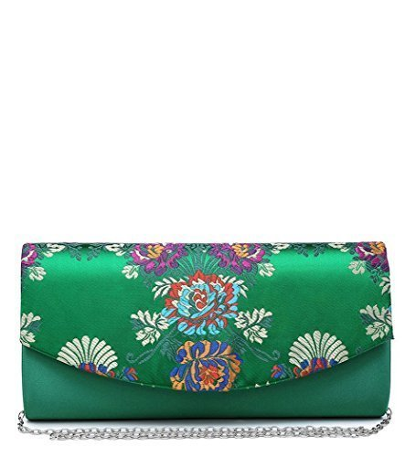 Green Bags Foldover Hand Floral Party Pattern Prom Occasion Clutch Evening I55 Dressy Ladies Womens qgPwCO