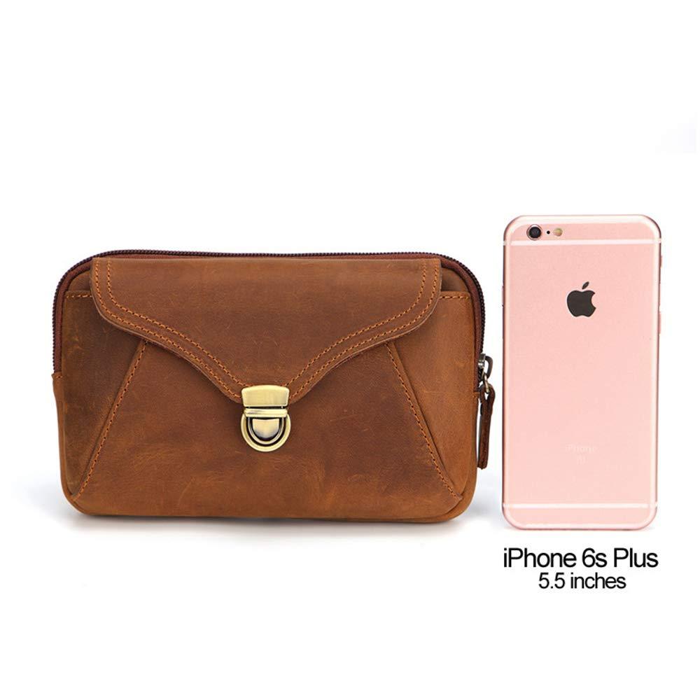 """Waist Pack Bag for Men Genuine Leather 7/"""" Mobile Phone Pocket Bag"""