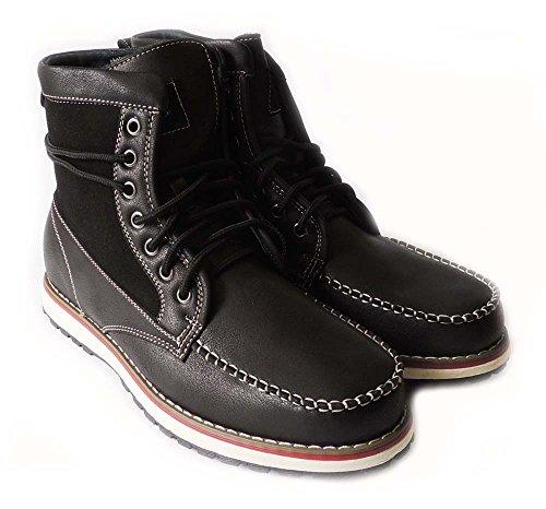 Nouvelle Mode Masculine Style De Combat Militaire Bottines En Cuir Doublé Chaussures Lacets Noir508013