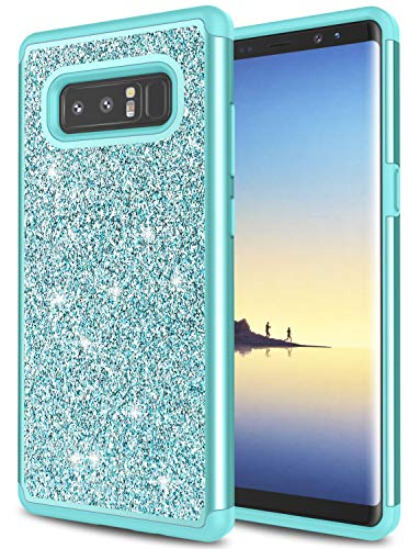 Galaxy Note 8 Case, Note 8 Case for Girls, Jeylly Gradient Color Bling Glitter Luxury Crystal Dual Layer Shockproof Hard PC Soft TPU Inner Protector Case Cover for Galaxy Note 8 N950 - Turquoise