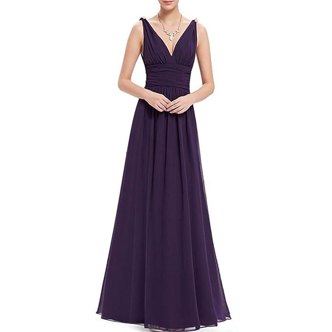 KAXIDY Mujer Vestido Largos Elegante V-cuello Profundo Coctel Maxi Vestido (small, Morado