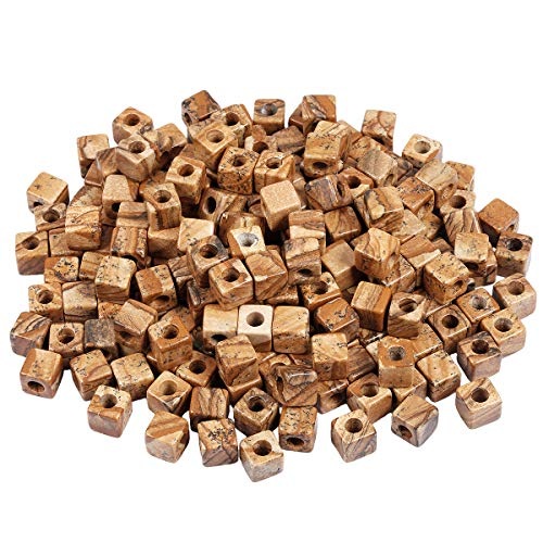 (TUMBEELLUWA Stone Bead for Jewelry Making, Healing Crystal Large Hole Square Shape Loose Beads Pack of 15,Picture Jasper )