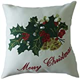 """Violet Linen Holly & Berries Decorative Cushion Cover, 18"""" x 18"""""""