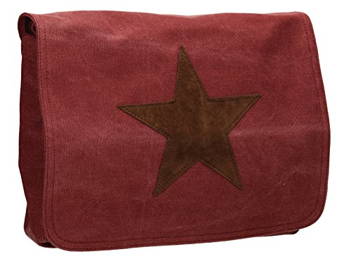 SwankySwans - Milan Star Canvas School Messenger, Borsa a tracolla Donna Rosso (Rosso (Burgundy))