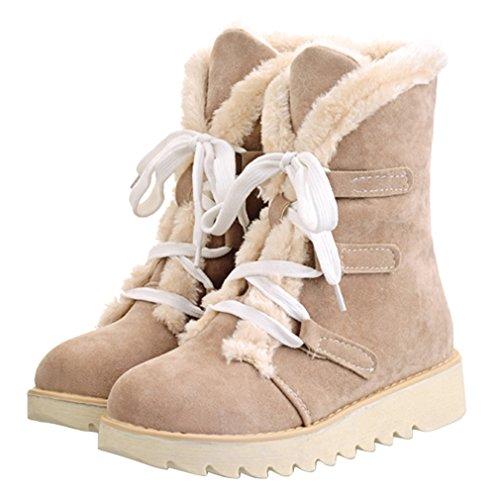 ENMAYER Frauen Wildleder weiche niedliche Frauen Schnee Stiefel Runde Zeh flach mit Winter Pelz Stiefeletten Aprikose