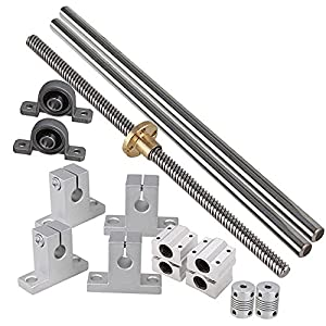 Industrial Combination,Ideaker 500mm Horizontal Optical Axis & 8mm Lead Screw Dual Rail Shaft Support Pillow Block Bearings & Flexible Shaft Coupling Set of 15 from Ideaker