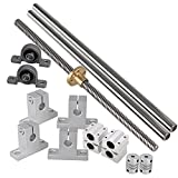 3D Printer Kit - Industrial Combination,Ideaker 500mm Horizontal Optical Axis & 8mm Lead Screw Dual Rail Shaft Support Pillow Block Bearings & Flexible Shaft Coupling Set of 15