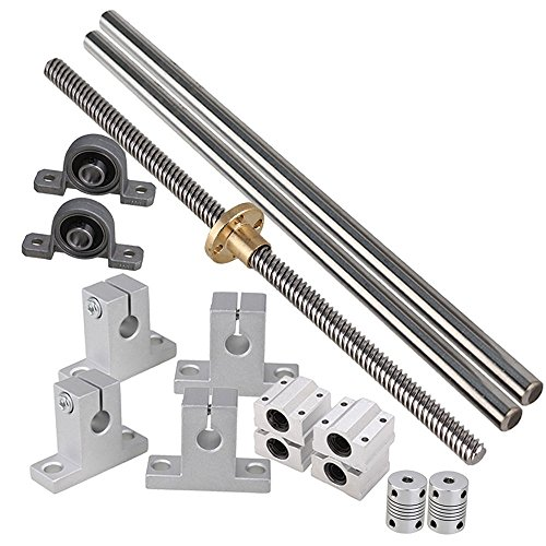 (Industrial Combination,Ideaker 200mm Horizontal Optical Axis & 8mm Lead Screw Dual Rail Shaft Support Pillow Block Bearings & Flexible Shaft Coupling Set of 15)