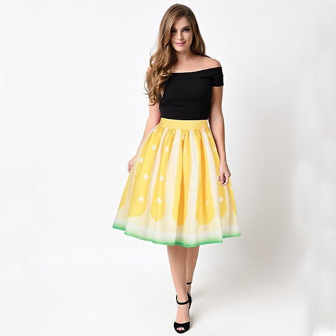 Belldan Mujer Elegantes Moda Estampado Flores Falda Plisada Años ...